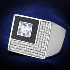 Rhodium 925 Sterling Silver Ring AAA GRD CZ Clear TS242 image