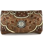 Western Concho Crossbody Trifold Wallet for Women image