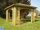 3m x 3m (Ex 3.5m x 3.5m) WOODEN GAZEBO ARCHED SHINGLES 18m2 HOT TUB POSTS 9x9