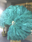 """Teal XL 2 layers Ostrich Feather Fan 34"""" x 60"""" with leather Travel Bag"""