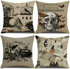 Qiqiany Set Of 4 Halloween Outdoor Decoeative Throw Pillow Covers 18X18 Inch Cro