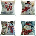 Christmas Snowman Throw Pillow Cover 18 X 18 Inches Set Of 4 - Christmas Series