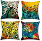 Resiont Set Of 4 Throw Pillow Covers 18 X 18 Cotton Linen Colorful Oil Painting