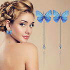 Fashion Women Silk Butterfly Drop Dangle Tassel Pearl Ear Hook Earrings Jewelry