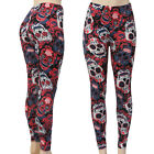 Red Rose Sugar Skull Leggings Day of the Dead Skulls Stretch to Fit Butter Soft