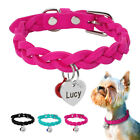 Personalized Dog Collars with ID Tag&Bell Soft Suede Leather for Small Puppy Cat