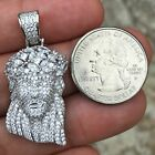 Men's Real Solid 925 Sterling Silver Jesus Piece Pendant Iced Baguettes Crown