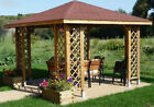 3m x 3m (Ex 3.5m x 3.5m) GARDEN WOODEN GAZEBO WITH OPTIONAL SHINGLES POSTS 7x7