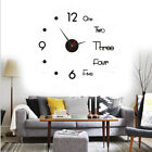 3D Large Wall Clock Big Watch Decal Stickers Roman Numerals DIY Wall Modern Home