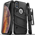 iPhone XS Max Zizo BOLT Case Cover w/ Holster + Tempered Glass HEAVY DUTY!