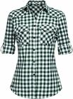 Zeagoo Womens Flannels Long/Roll Up Sleeve Plaid Shirts Cotton Check Gingham Top
