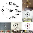 Modern Large Wall Clock 3D Mirror Sticker Unique Big Number Watch DIY Decor Gift