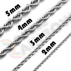 Men Women Stainless Steel Silver 2mm/3mm/4mm/5mm Rope Necklace Chain Link C11