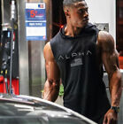 Men Gym Hooded Tank Top Sleeveless vest Bodybuilding Cotton Workout Fitness