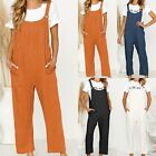 Women Loose Strappy Romper Jumpsuit Summer Overalls Playsuit Wide Leg Long Pants