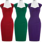 Sleeveless Hollowed Back 1950's Retro Vintage Bodycon Evening Hips-wrapped Dress