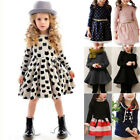 Kids Girls Long Sleeve Dress Tops Tunika Skirt School Clothes Casual Party Dress