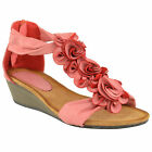 LADIES WOMENS SUMMER SANDALS STRAPPY FLORAL FLAT LOW HEEL WEDGE BEACH SHOES SIZE
