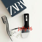 ZARA NEW WOMAN SILVER MID-HEEL SANDALS WITH VINYL STRAP SILVER 35-42 3306/510 for sale  Shipping to Nigeria