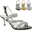 Womens Ladies Diamante Mid Heel Prom Bridal Wedding Shoes Evening Sandals Size
