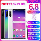 Note10+plus 6.8'' Unlocked Smart Mobile Phone 6+128gb Android 9.1 Hd Dual Sim Uk