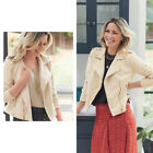 AVON Ladies Womens Faux Suede Cream White Biker Motorcycle Jacket Size 16