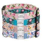 Floral Personalised Dog Collar Slide on Tag Custom ID Name Nylon Collars D-ring