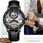Mens Dual Time Flywheel Leather Luxury Skeleton Automatic Mechanical Watch image
