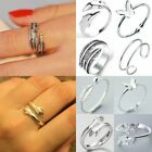 Silver Hollow Heart Flower Rings Ocean Wave Ring Women Fashion Jewelry Gifts New