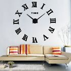 Large 3D Wall Clock Roman Numerals Mirror Stickers Decal Room Home Decoration