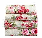 4 Pcs Floral Sheet Set Flat/Fitted/Pillowcases Pink Red Cottage Floral