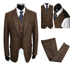 Wool Blend Brown Man Plaid Suit Tweed Tuxedo Vintage Party Prom Wedding Suit