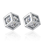 925 Sterling Silver Cube Pendant Necklace Stud Hook Earrings Womens Jewellery UK
