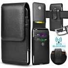 Vertical Cell Phone Holster Pouch Leather Wallet Case Universal w/Belt Clip Loop