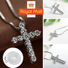 Crystal Cross Pendant Necklace 925 Sterling Silver Chain Women Jewellery Jesus C