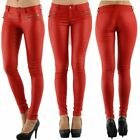 Women's Stretch Leather Look Jeans Trousers Slim Skinny Red Sizes UK 6-14