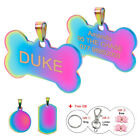 Stainless Steel Personalised Dog Tags Round/Bone ID Name Tags Engraved Hair Bows