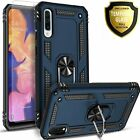 For Samsung Galaxy A20S Case, Ring Kickstand Cover + Tempered Glass Protector