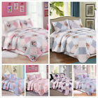 3 Pieces Microfiber Reversible Queen/King Quilt Set with Shams, Floral Patchwork image