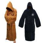 Men's Hooded Fleece Bathrobe Cloak Gown Robe Sleepwear Jedi Knig Cloak