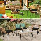 Garden Bistro Patio Furniture Set Table & Chairs Outdoor Indoor Steel Rattan