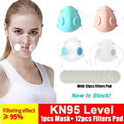 Double Vent Clear Face Mask Reusable Anti Air Pollution W/filter Pad Respirator