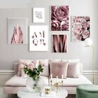 Poster+Rose+Flower+Feather+Nordic+Style+Wall+Art+Canvas+Print+Painting+Modern