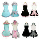Cute Lovely Women Princess Apron Dress Ruffled Bowknots Kitchen Uniforms Cosplay