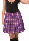 PURPLE SCHOOLGIRL TARTAN PLAID PLEATED JUNIOR to PLUS SIZE LONG SKIRT 17