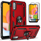 For Samsung Galaxy A01 Case, Ring Kickstand Cover + Tempered Glass Protector