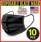 10/50/100 BLACK 3-Ply Face Mask Disposable Dental non Medical Surgical Cover