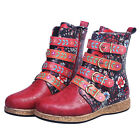 Womens Boho Floral Printed Ankle Boots Ladies Buckle Zipper Vintage Shoes Size