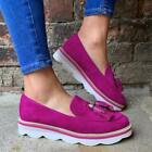 Womens Tassel Loafers Slim On Platform Pumps Casual Flats Ladies Work Shoes Size