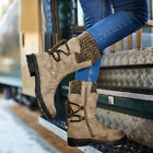 Womens Mid Calf Warm Fur Lined Boots Winter Lace Up Knitted Low Block Heel Boots